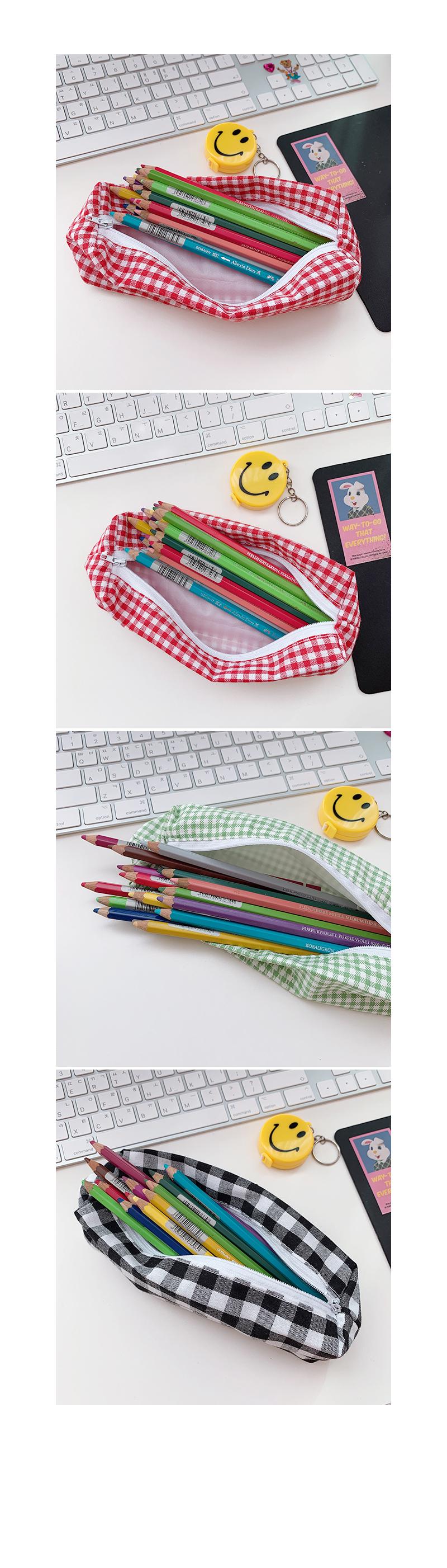Amy Check Pencil Case 에이미체크필통 - 메종드알로하, 4,000원, 패브릭필통, 심플